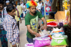Color of festival 2016. Shankhari Bazar in big color powder market of dhaka ready for big Hindu festival in Dol and Holi festivals. Over the years it has become Royalty Free Stock Images