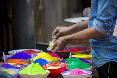 Color of festival 2016. Shankhari Bazar in big color powder market of dhaka ready for big Hindu festival in Dol and Holi festivals. Over the years it has become Royalty Free Stock Photo
