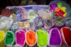 Color of festival 2016. Shankhari Bazar in big color powder market of dhaka ready for big Hindu festival in Dol and Holi festivals. Over the years it has become Stock Photos
