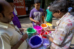 Color of festival 2016. Shankhari Bazar in big color powder market of dhaka ready for big Hindu festival in Dol and Holi festivals. Over the years it has become Stock Photo