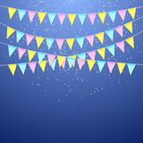 Color festival triangular flag garland. Decoration banner for birthday holiday, festival, carnival and anniversary. Colorful flags with confetti. Vector Stock Images