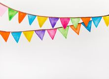 Color festive flags watercolor Royalty Free Stock Image