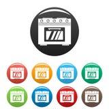 Color fijado iconos del horno de gas ilustración del vector