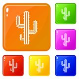 Color fijado iconos del vector del cactus ilustración del vector