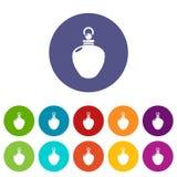 Color fijado iconos del vector de la mercancía de la botella de perfume ilustración del vector