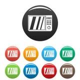 Color fijado iconos eléctricos del horno de microondas libre illustration