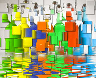 Color Filled Bottles Stock Photos
