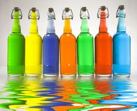 Color Filled Bottles. Colorful bottles reflected in water Stock Illustration