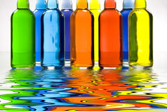 Color FIlled Bottles Royalty Free Stock Image