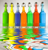Color Filled Bottles Royalty Free Stock Images