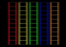 Color film. Illustration of strips of film each a different color on a black background Stock Photography