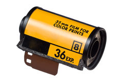 Color Film Roll ISO 400. Roll of 36 frames ISO 400 camera film isolated on white background Stock Photo