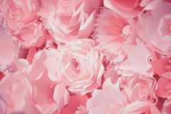 Color filter effect in pink of a 3D paper flower wall, decor idea or backdrop for weddings, baby shower, birthday or tea parties royalty free stock images