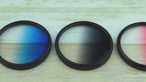 Color the filter for a lens. The filter for a camera lens stock video