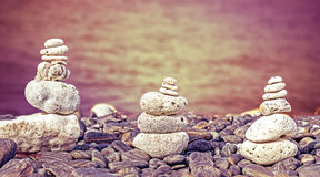 Color filtered image of stones on beach. Royalty Free Stock Photography