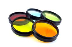 Color filters for lenses. On the white background stock photography