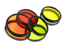 Color filters for lenses. Over white stock image