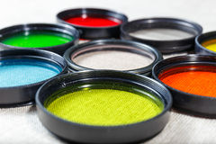 Color filters for lenses. On bright background royalty free stock images