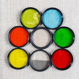 Color filters for lenses. On bright background royalty free stock photography