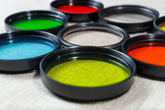 Color filters for lenses. On bright background stock photography