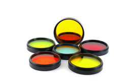 Color filters for lenses. Over white royalty free stock photo