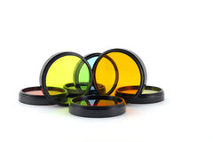 Color filters for lenses. Over white stock photography
