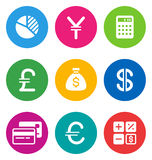 Color finance icons Royalty Free Stock Image
