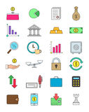Color finance icons set. Set of 24 finance icons Royalty Free Stock Image