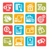 Color finance icons set Royalty Free Stock Photos