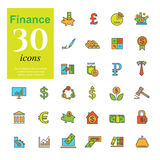 Color finance icons Stock Photos