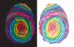 Color finger print. Abstract color finger print on black and white baclground. Vector illustration Stock Photos