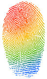 Color fingerprint. Fingerprint in rainbow colors identity, crime, personality concept Stock Images