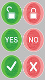 Color Fingerprint. `YES / NO`. Set. Lock. Vector illustration. Royalty Free Stock Image