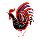 Color fire cock  looking at left. Chinese calendar Zodiac for 20. Color fire cock on white background looking at left. Chinese calendar Zodiac for 2017 New Year Stock Images