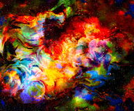 Color fire flame in space. Cosmic space and stars, color cosmic abstract background. Color fire flame in space. Cosmic space and stars, color cosmic abstract Stock Images