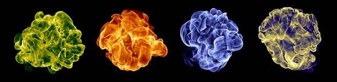 Color fire set. On a black Royalty Free Stock Photography