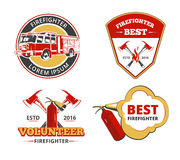 Color firefighter emblems, labels and badges vector set. Volunteer and protection, rescue and safety illustration Royalty Free Stock Photos