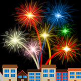 Color Fireworks Indicates Night Sky And Celebrating Royalty Free Stock Image