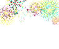 Color fireworks isolated on white background. Vector illustration Stock Photos