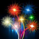 Color Fireworks Represents Night Sky And Celebrations Stock Image