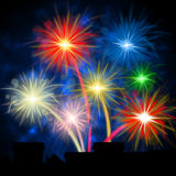 Color Fireworks Shows Explosion Background And Celebration. Fireworks Color Indicating Night Sky And Colours Stock Images