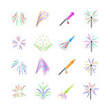 Color fireworks vector set Royalty Free Stock Image