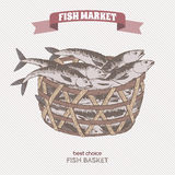 Color fish basket sketch. Fish market series. Great for markets, grocery stores, organic shops, fishing and food label design Stock Photos