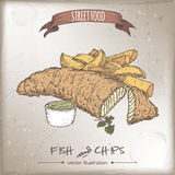 Color fish and chips sketch on vintage background. British cuisine. Street food series. Great for market, restaurant, cafe, food label design Royalty Free Stock Images