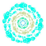 Color fish in ring on white background. Vector illustration Stock Images
