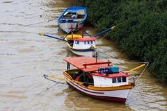 Color fishing boats Royalty Free Stock Images