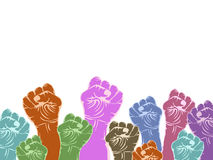 Color fists with copy space Royalty Free Stock Image