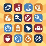 Color fitness and sport icons. Sport and Fitness  icons for web and mobile. All elements are grouped Stock Images
