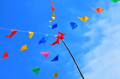 Color Flag. S in Song Kran Festival at Thailnd stock photo