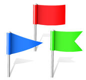 Color flag pins. The three color flags pins Royalty Free Stock Image